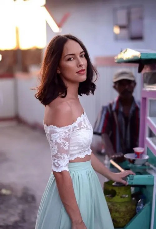 a tender look with a white lace off the shoulder top and mint high waist A-line midi skirt