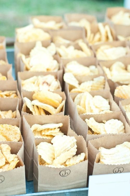 chips served in simple cardboard boxes are a timeless snack idea that will please the crowd