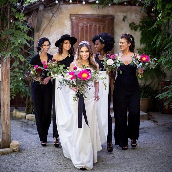 Dark And Colorful Bridesmaid Jumpsuits