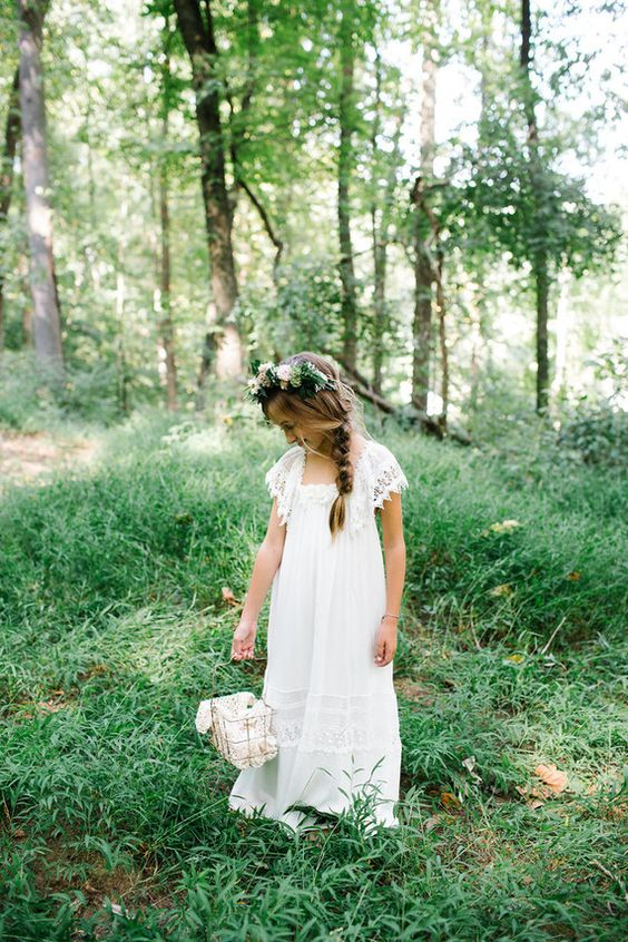 a boho lace flower girl maxi dress with cap sleeves and lace inserts and a square neckline