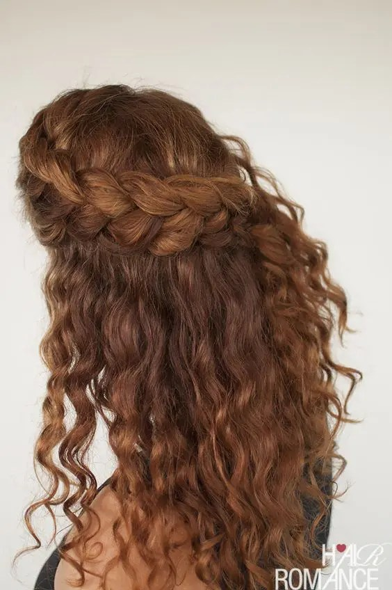 a half updo with a large side braided halo and locks down will easily accent your folksy or boho look