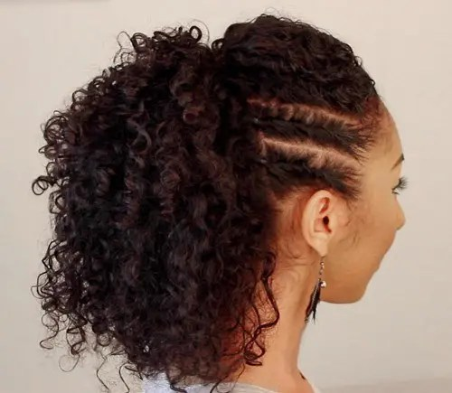 side flat twists with a high ponytail will keep your hair away from the face throughout the day