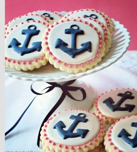anchor glazed cookies are a nice dessert idea for a nautical bridal shower or wedding