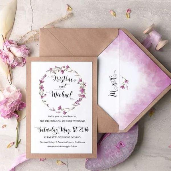 Lilac And Grey Letterpress Wedding Invitations