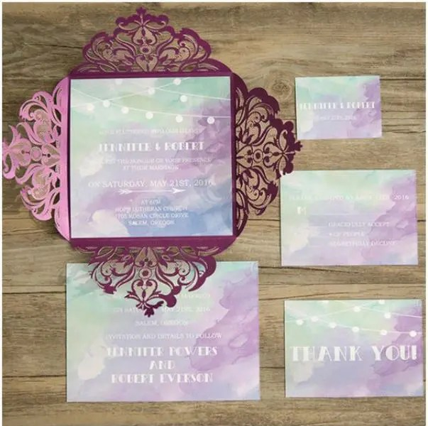 Shades Of Purple Blue And Green Watercolor Wedding Invitation