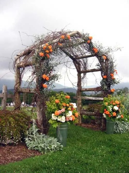 rustic wooden arbor with orange flowers