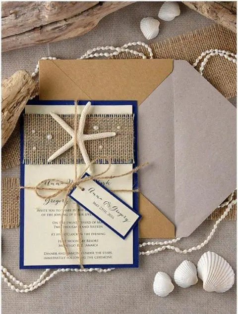 Picture Of Beach Wedding Invitation With Burlap