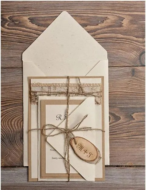 30pcs Personalized Vintage Wedding Invitations Sets Creative Invitation With Satin Ribbon And Charms