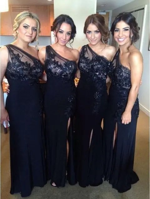 Adorable maxi bridesmaid dresses with lace
