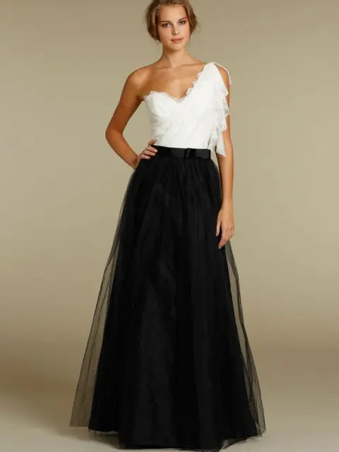 Black and white dress for bridesmaids