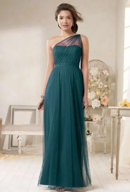Emerald maxi chiffon bridesmaid dress