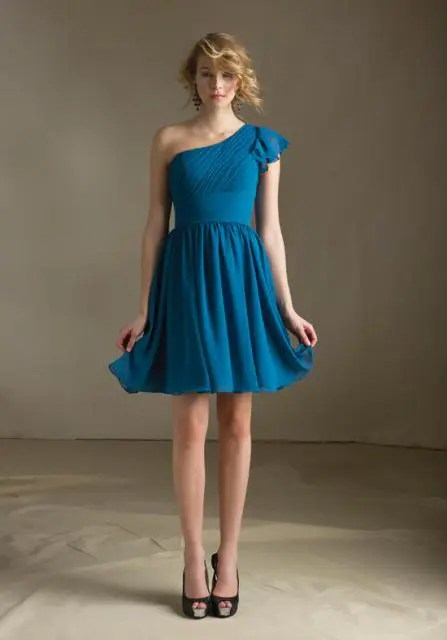 Flirty mini bridesmaid dress idea