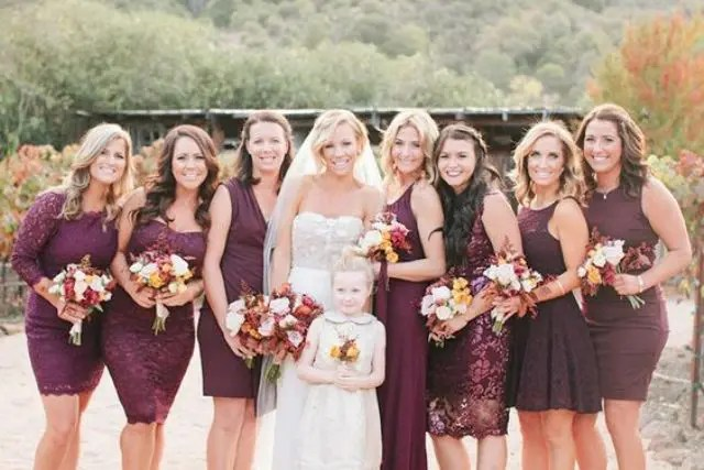Marsala short bridesmaid dresses with lace
