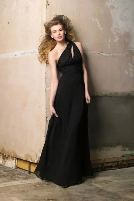 Unique maxi black dress for chic weddings