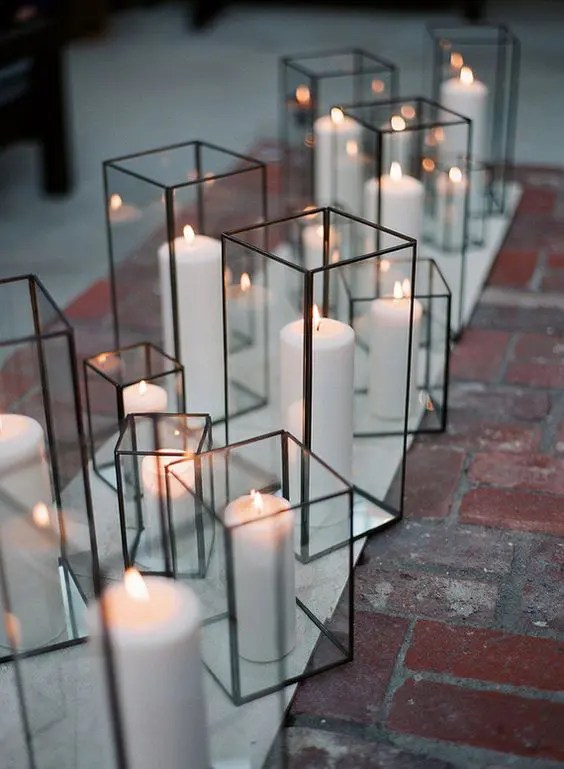 simple cube glass candle holders for wedding decor and for aisles