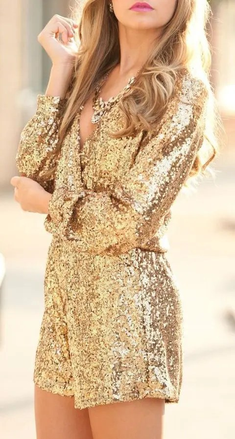 gold sequin romper with a low cut