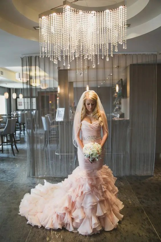 glam blush mermaid wedding dress