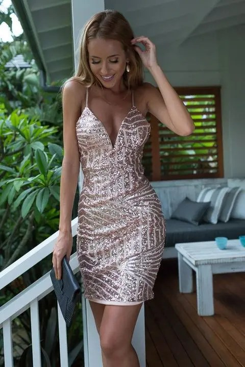 mini rose gold embellished dress with straps