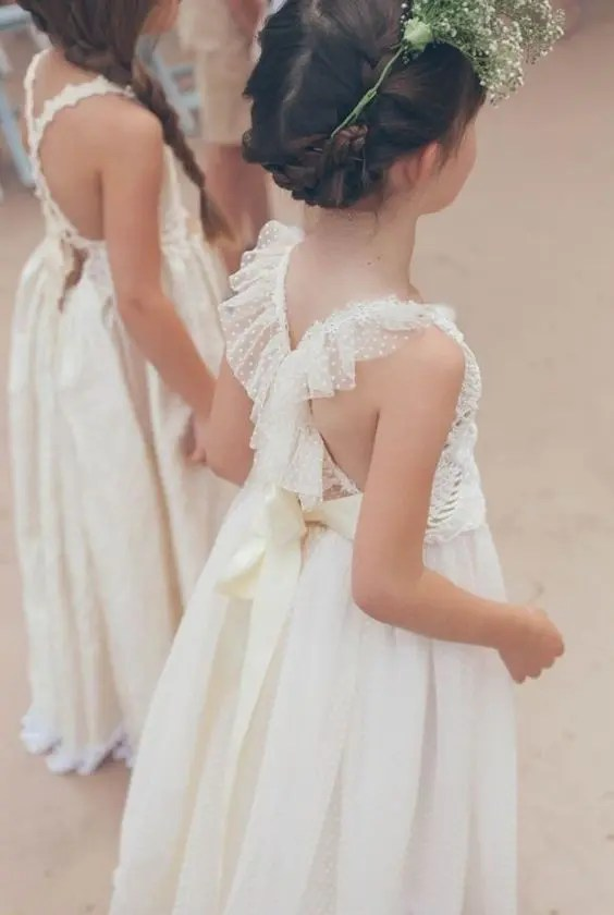 tulle ivory dress with a criss cross back