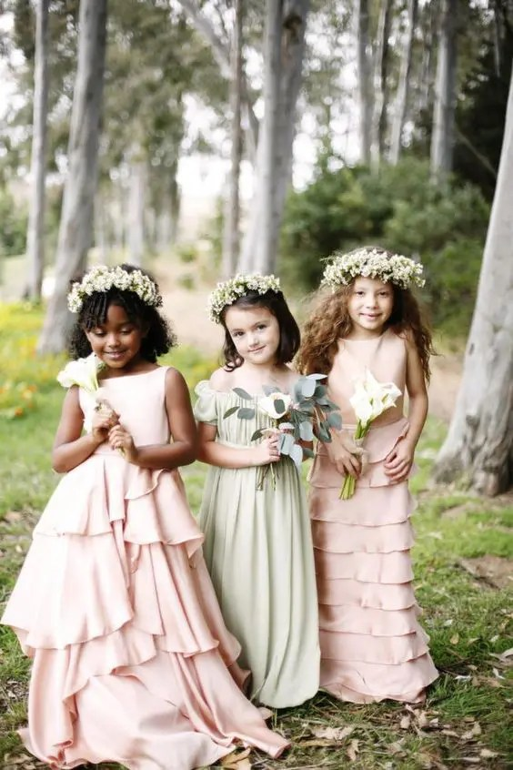 pastel-colored ruffle and pleated dresses