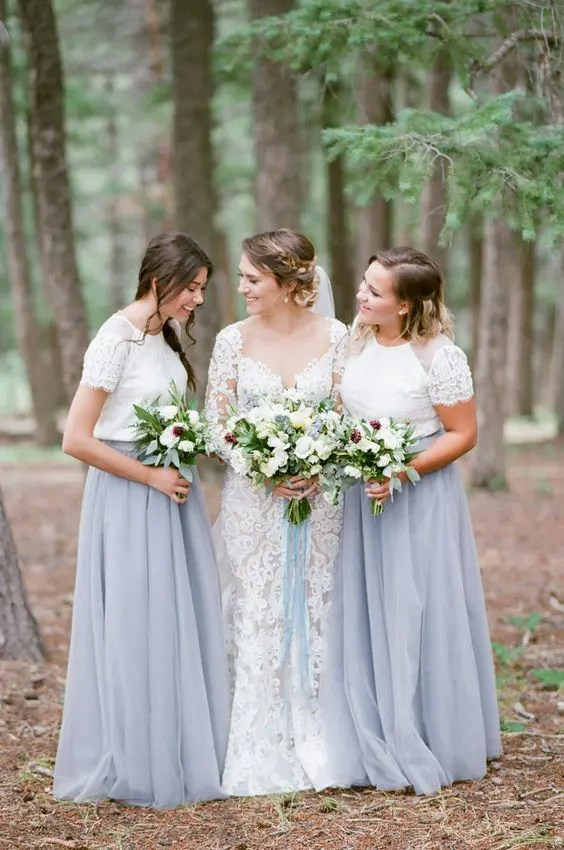 blue maxi skirts and short lace sleeve tops for the bridesmaids