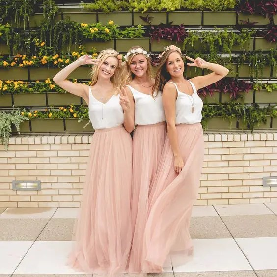 blush tulle maxi skirts and white strap tops