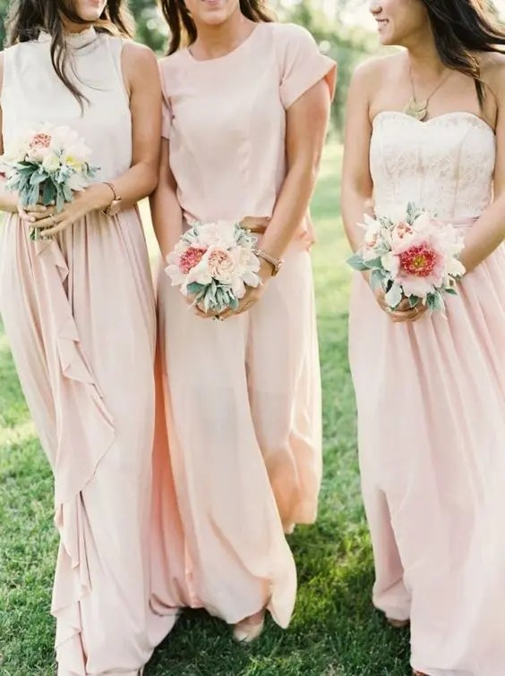 ivory tops and blush maxis, a blush top and a maxi for the maid of honor