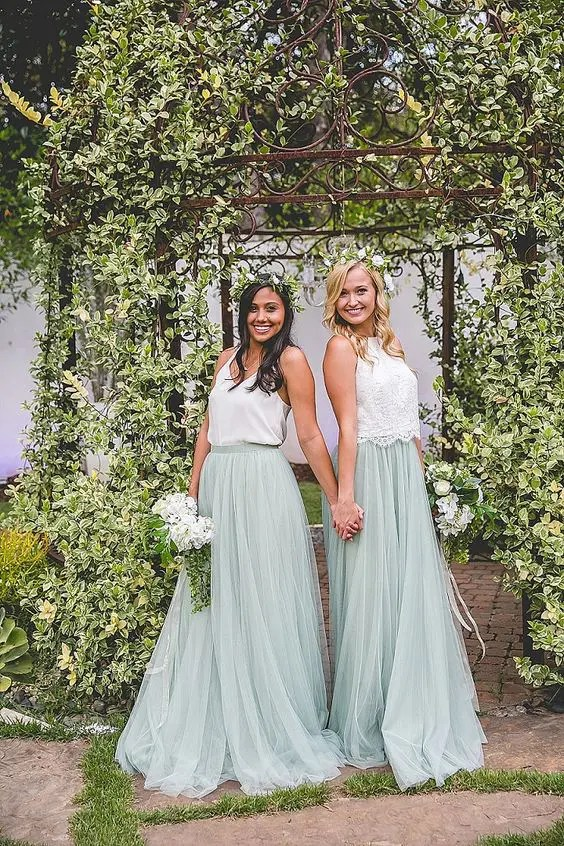 mint green tulle layer maxi skirts and different white tops