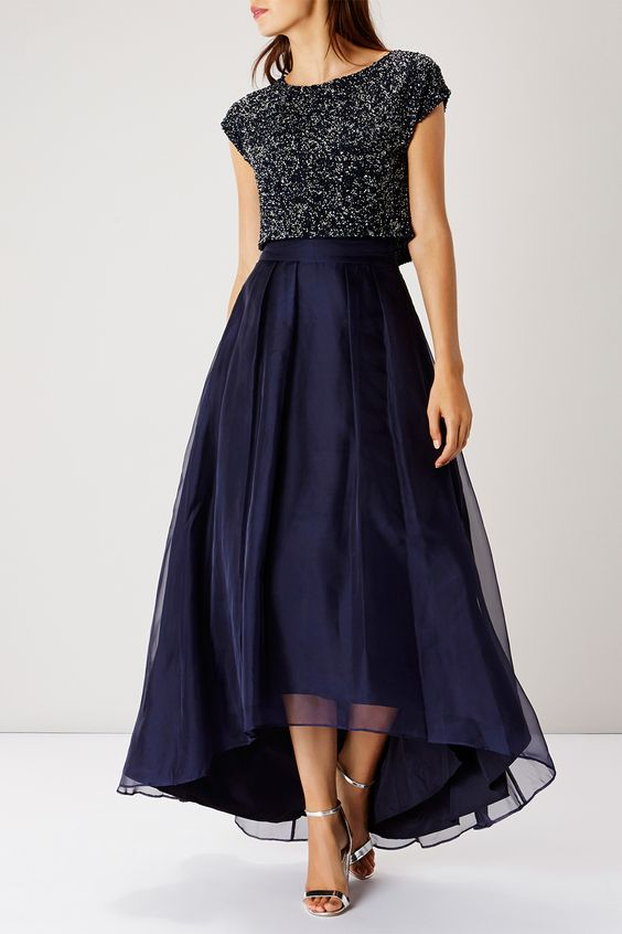 navy high low midi skirt and a sparkling navy crop top