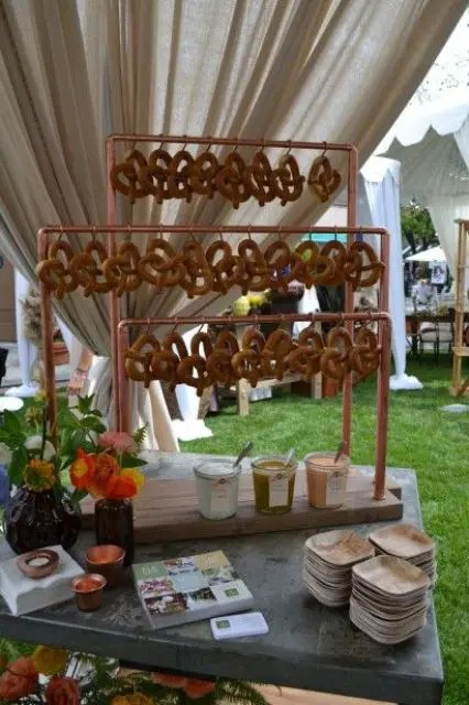 a pretzel bar is a unique and cool idea to try, many guests will love it
