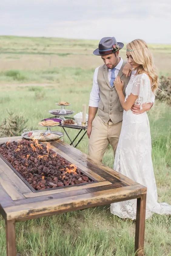 s'mores station for a boho wedding