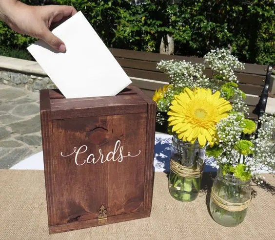 dark stained wooden box for wedding cards