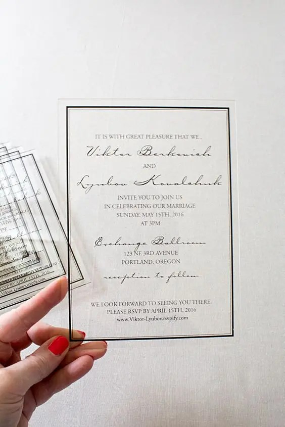 Clic Acrylic Wedding Invitations Were Printed With A Black Frame And Stunning Font Layout For The