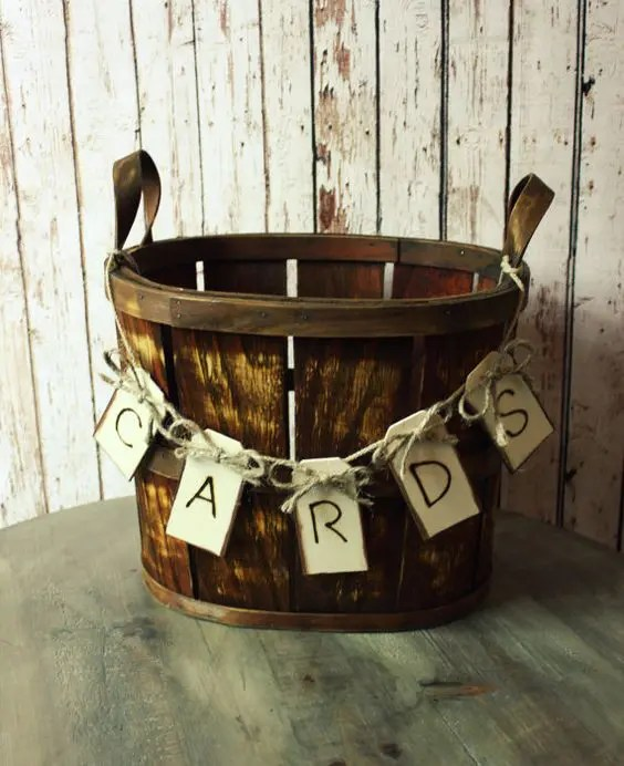 rustic basket wedding card holder with a banner