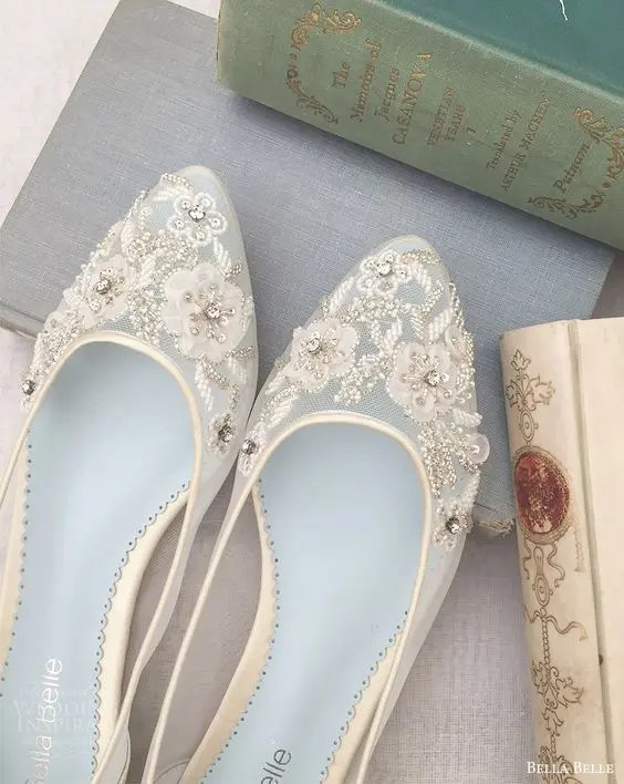 sheer flats with flower lace appliques and rhinestones