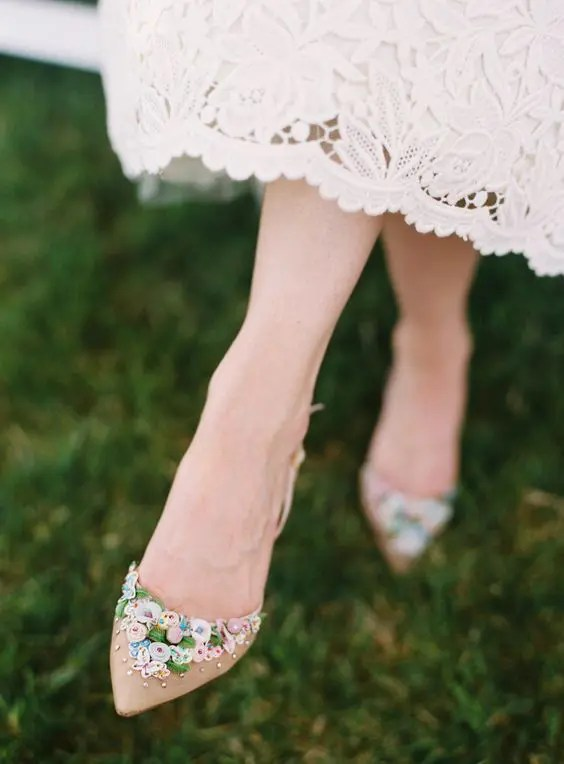 whimsy floral applique wedding flats