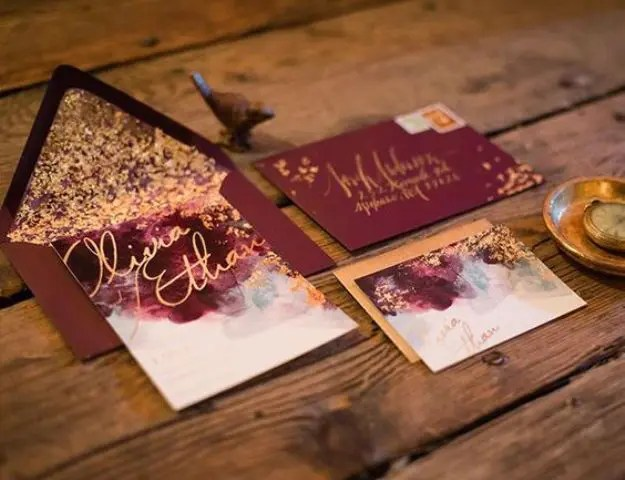 Burgundy And Gold Leaf Wedding Invites Watercolor Invitations