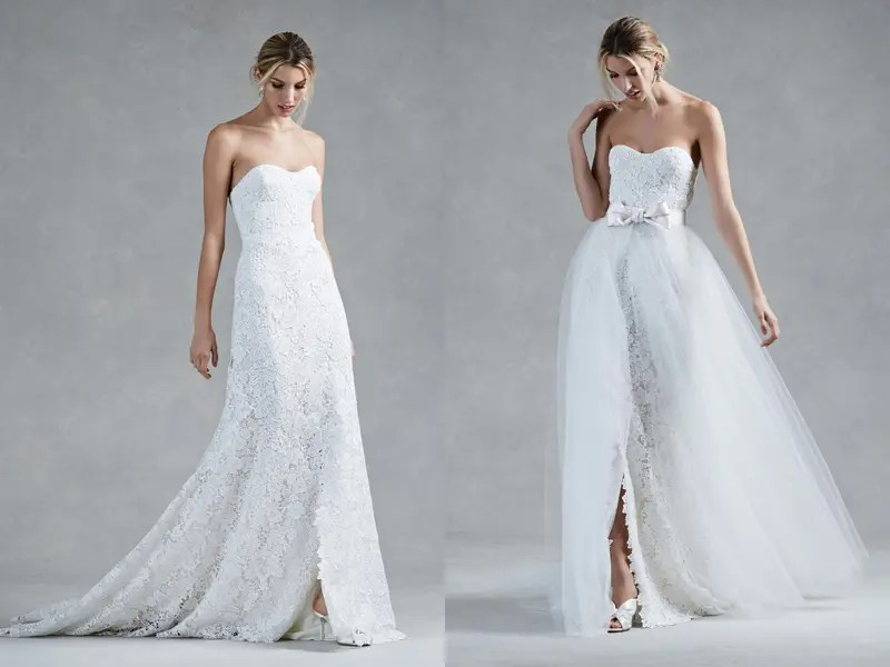 Picture Of Strapless Lace A Line Wedding Dress And A Lace