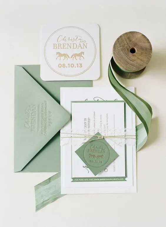 Sage Green And White Wedding Invites With Twine Pressed Letters For A Simple Spring