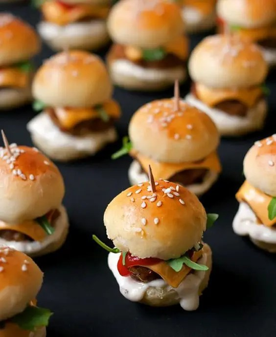 mini sliders on skewers with cheese, meat, veggies are ideal for everyone