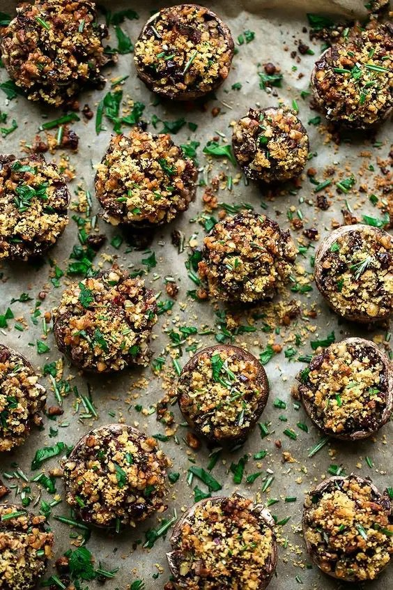 walnut, sage and cranberry stuffed holiday mushrooms are perfect for vegans