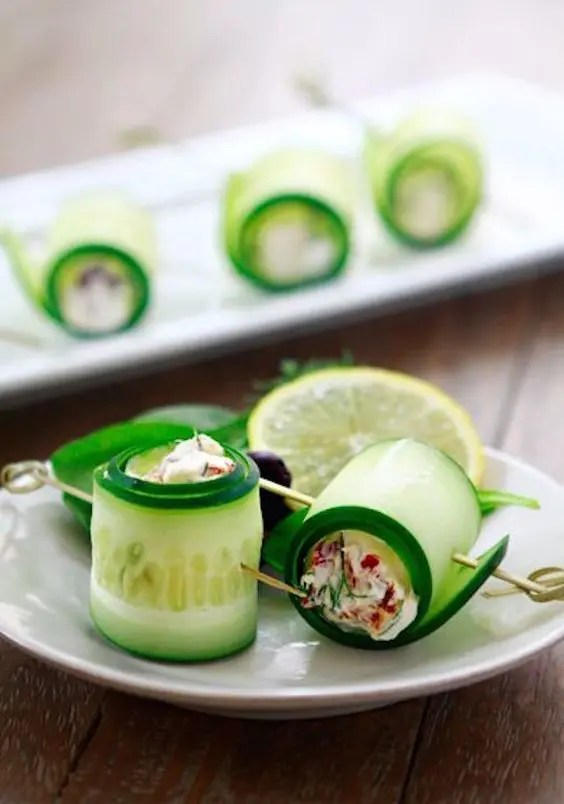 fresh cucumber rolls stuffed with veggie salad is a creative and cool spring idea