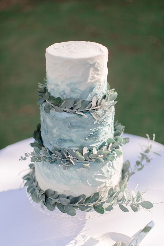 Picture Of A Textural Blue Watercolor Wedding Cake
