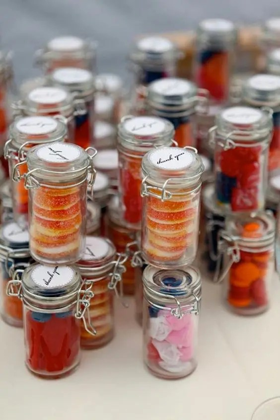 buy a lot of glass jars with lids and make your personal candy and sweets assortments
