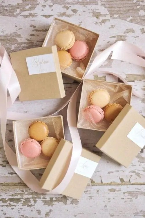 cute boxes with macarons for everyone is a timeless wedding favor idea for any wedding season and theme