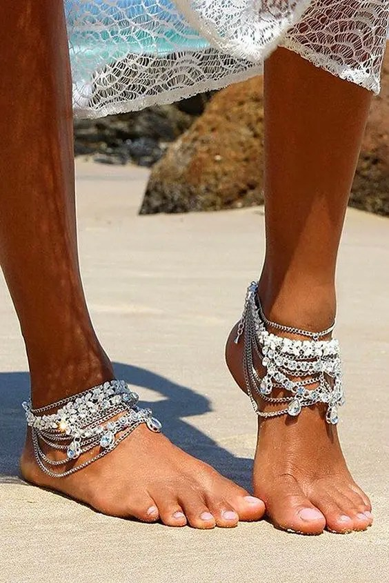 boho gypsy bridal anklets with lots of chain layers and rhinestones for a bold beach look