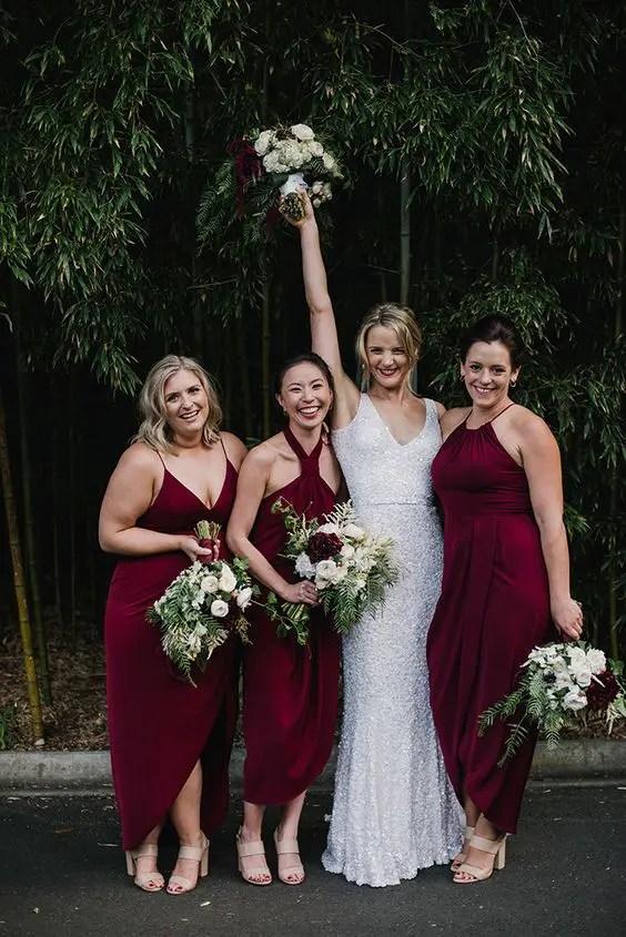 Mismatching Jewel-Tone Bridesmaids' Dresses |