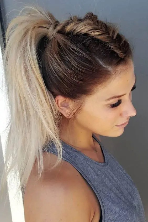a chic braided ponytail on ombre hair for a gorgeous effortlessly chic look