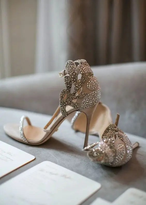 beautiful neutral embellished and laser cut bridal heels with just one strap on the top