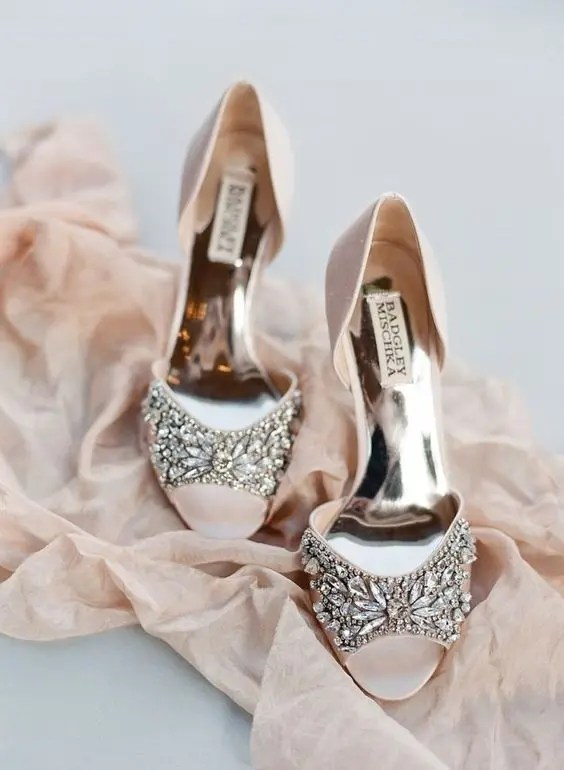blush peep toe wedding shoes with a heavily embellished top to add a sparkle